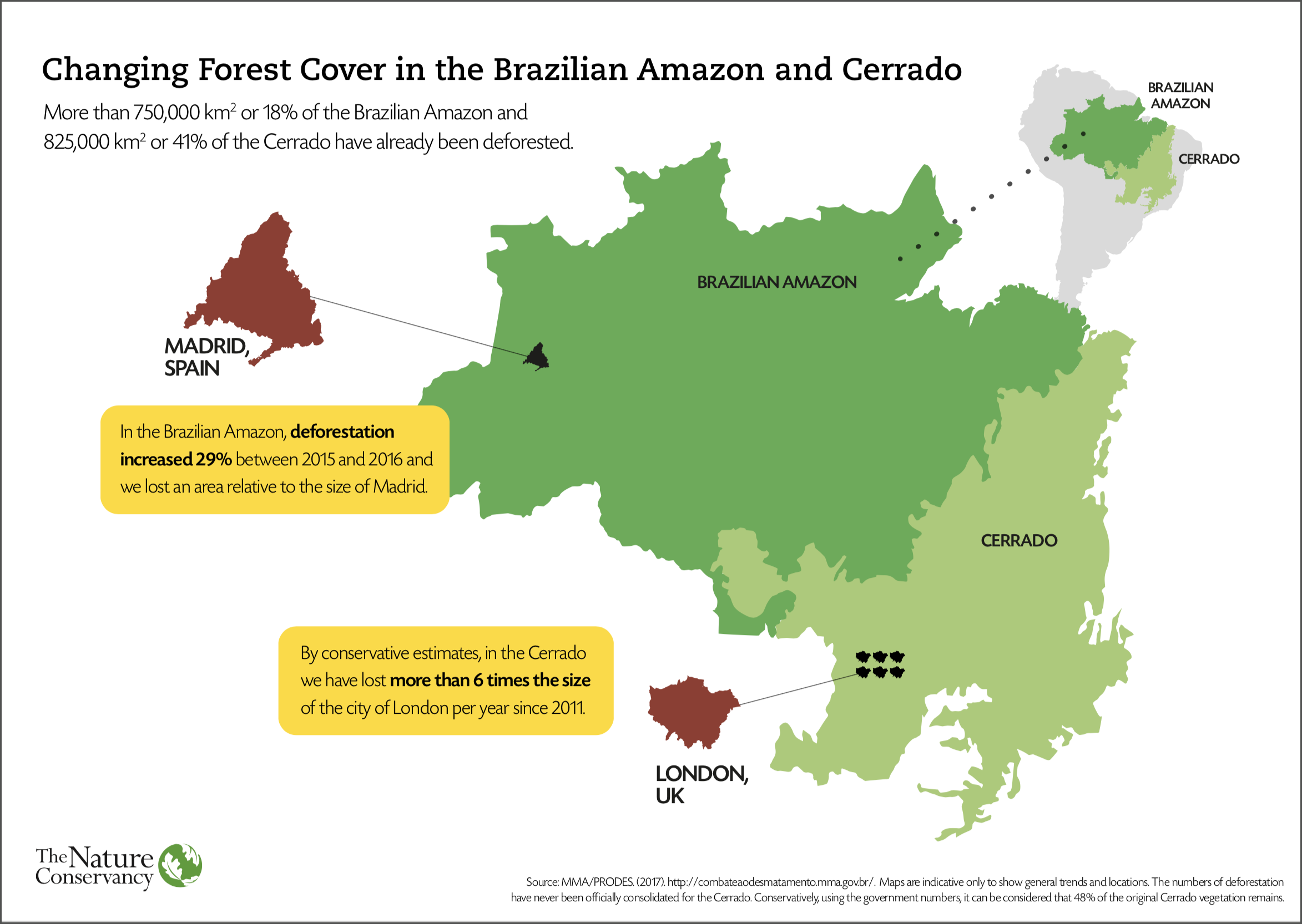 This map shows the amount of deforestation in the Brazilian Amazon and Cerrado, with comparative European city estimates.
