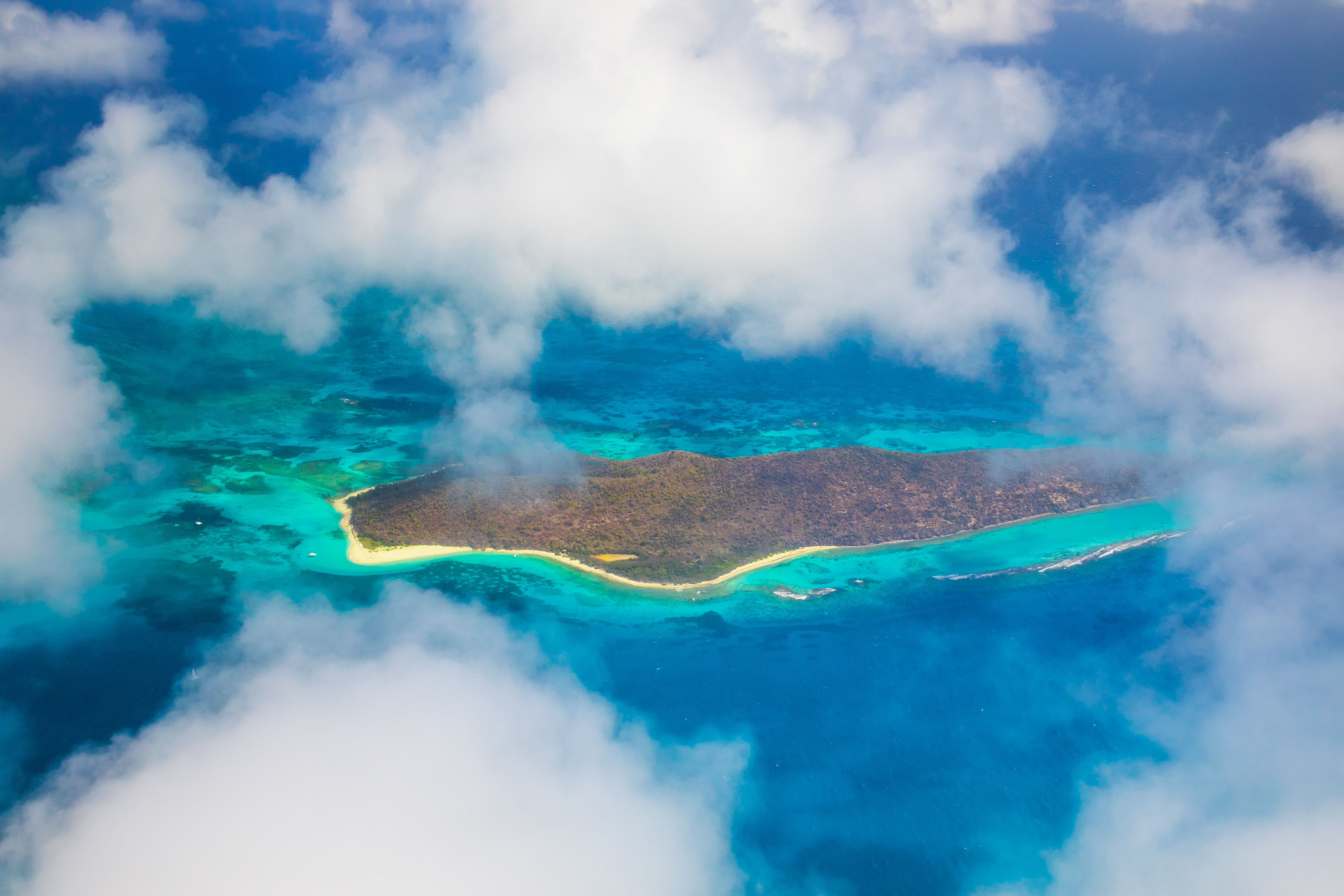 Buck Island, a U.S. National Monument, as seen out the window of the CAO aircraft as it flys over St. Croix.